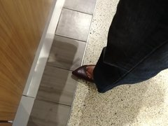 Candid feet in food court
