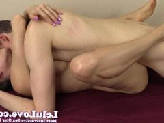 Passionate couple pussy eating and pounding creampie