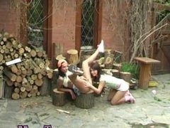 Latina public flashing Cutting wood and licking pussy