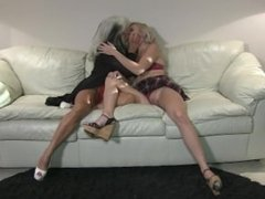 Older Woman Kissing Younger