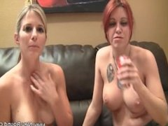 Two hot girls with great tits burping