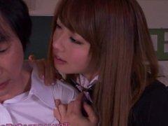 Tokyo schoolgirl creampied then tastes cum