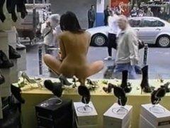 Window Nude in Public Washing Window