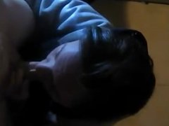 Deepthroat blowjob from a sexy bitch of a brunette with a big dick to work