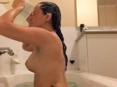 Washing Long Brunette Hair in Bath