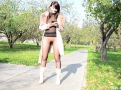 Jeny Smith Autumn Suit - flashing in Moscow park - part 1