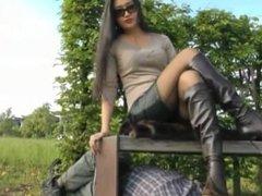 Goddess Leyla outdoor shoes worship