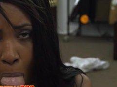 Ebony pawnshop amateur facialized for money