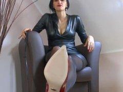 German Mistress Human Ashtray POV in Red High Heels