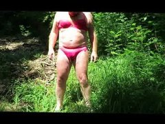 Red Ladyunderwear in the forest