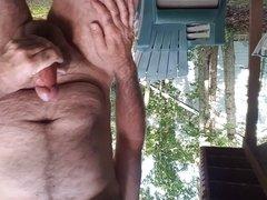 Jerking off outdoors in back yard cim shot public 2
