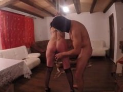 Brunette tied up and fucked