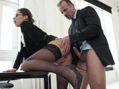 Slutty secretary for boss -Lingerie-StayUps-Glasses -Nikita Be...