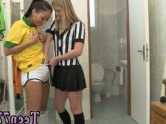 Hot hot hot blonde and latina teen strip tease Brazilian player boning