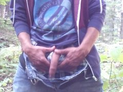 Piss, foreskin play & jerk off in the forest