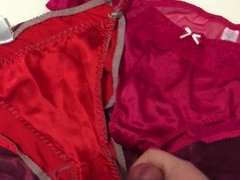 Cumming on mother in laws big silky panties and knickers.