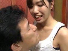 Japanese Girl licking and sucking man's nose