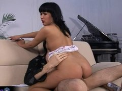 Dark haired Yulia enjoys deep fucking