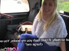 Busty Blonde Creampied in Taxi