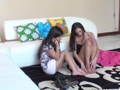 Tiffany Thompson and Layla Rose have a great masturbation.