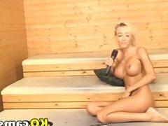 Blonde teen show in sauna