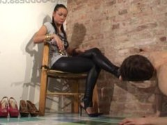 Shoes slave clean all mistress high heel