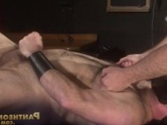 Scott shoots his load of cum after intense nipple play by Clint