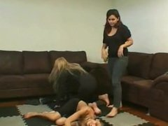 Two BBW Amazons crush and trample the ponygirl with all their weight