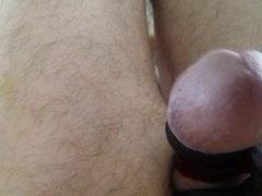 Wanking and cumming wearing three cock rings !!