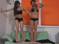 Two On One Full Weight Lesbian Belly And Face Trample