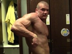 Locker room muscle posing