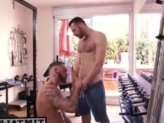 Tattoo muscle guy getting fuck