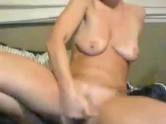 Insatiable hot housewife with small boobs fingering wet twat