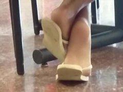 Candid Ebony Feet in Cafeteria 20