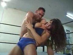Vanessa vs Jason and Sabrina mixed wrestling