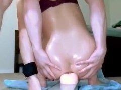 Huge anal dildo in ass