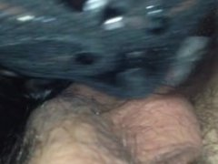 Masked slut worships cock and balls