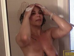 Hot brunette bigtits shower at home