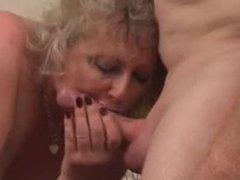 Granny in black stockings fucks older guy