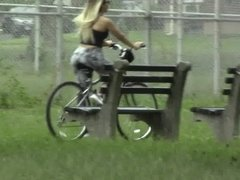 candids - blonde booty on bicycle