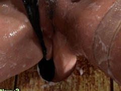 Gloryhole slut gets slime