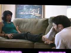 Man worship dirty white socks of Bethany