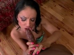 Big ass slim Latina babe sucks and fucks BBC