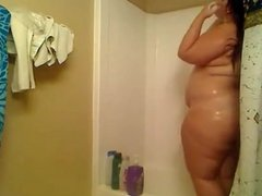 Chubby girl with small tits in shower