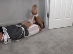 Nosey Latina News Lady kept tied up and gagged in the closet