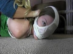 The babysitter gets another womans panties tied on to her pretty little hea