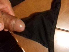 cum in wife black thong