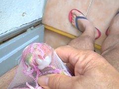 Cumshot Sperm Through Pink String 001