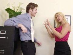 Busty Blond Boss Sarah Vandella Seduces Young Employee