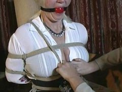 Blond haired blue eyed 40 something milf her first time in bondage